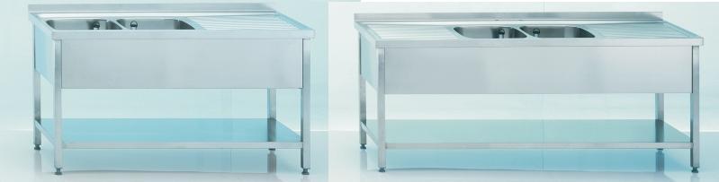 sp ltisch 2 becken ablage gewerbebecken i sp lenshop24. Black Bedroom Furniture Sets. Home Design Ideas