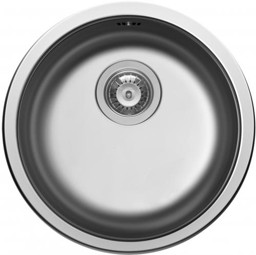 Pyramis Küchenspüle CR-Rundbecken (Ø38,5x15) Edelstahlspüle / Runde Spüle Siebkorb als Stopfenventil 3 1/2