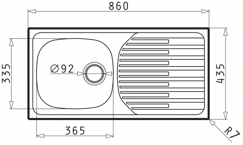 {Lager} Pyramis Küchenspüle ET33 Fork (86x43,5) 1B 1D Einbauspüle / Edelstahlspüle Ablauf mit Stopfenventil ohne Hahnlochbohrung