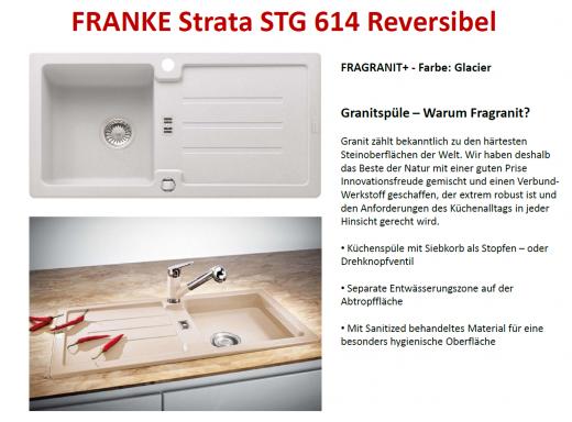 FRANKE Küchenspüle Strata STG 614 Fragranit+ Einbauspüle / Granitspüle mit Stopfen- oder Drehknopfventil