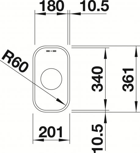 BLANCO Küchenspüle Supra 180-U Edelstahlspüle / Unterbaubecken mit Siebkorb als Stopfenventil und Handbetätigung