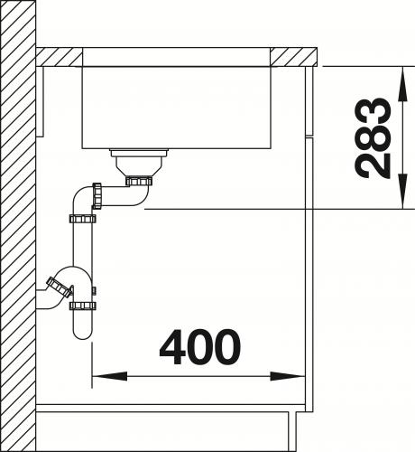 BLANCO Küchenspüle Supra 340-U Edelstahlspüle / Unterbaubecken mit Siebkorb als Stopfenventil und Handbetätigung