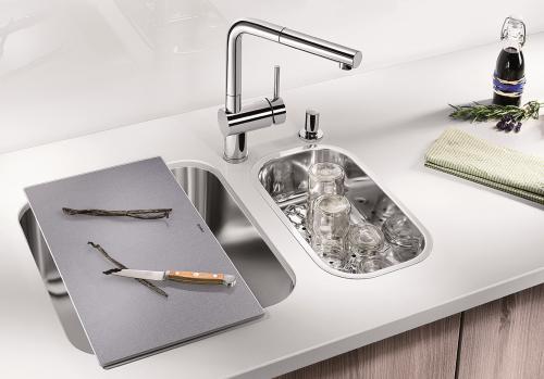 BLANCO Küchenspüle Supra 400-U Edelstahlspüle / Unterbaubecken mit Siebkorb als Stopfenventil und Handbetätigung