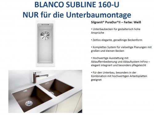 BLANCO Subline 160-U Silgranit® PuraDur®II Granitspüle / Unterbaubecken Ablaufsystem InFino mit Handbetätigung
