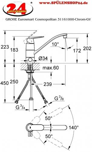 modell grohe eurosmart cosmopolitan 31161000 markenprodukt der firma grohe k chenarmatur. Black Bedroom Furniture Sets. Home Design Ideas