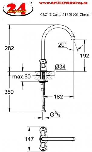 GROHE Küchenarmatur Costa Spültischbatterie Chrom Zweigriff Armatur (31831001)