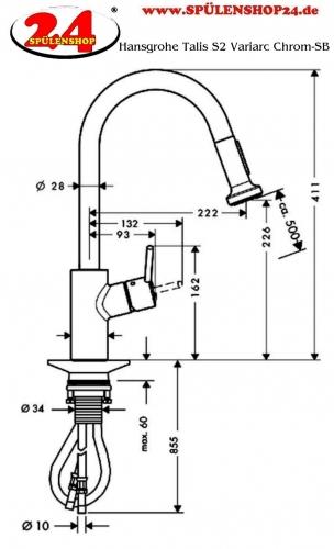 Modell hansgrohe talis s2 variac 14877 000 markenprodukt for Hansgrohe talis s2 variarc