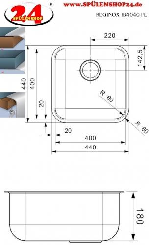 REGINOX IB4040-FL Einbauspüle Edelstahl 3 in 1 mit Flachrand Siebkorb als Stopfenventil