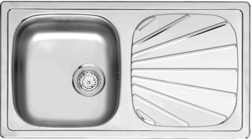 REGINOX Küchenspüle Beta 10 BAP OKG Einbauspüle Edelstahl mit Einbaurand Siebkorb als Stopfenventil