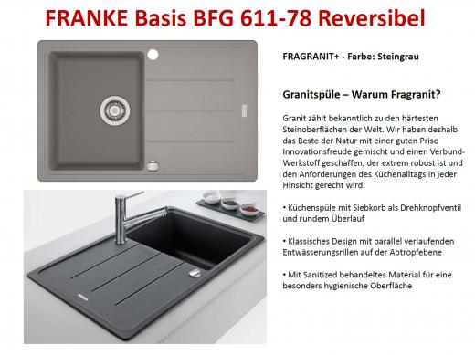 xFRANKE Küchenspüle Basis BFG 611-78 Fragranit+ Einbauspüle / Granitspüle mit Drehknopfventil