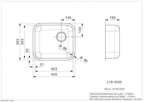 REGINOX L18 4035 KG-CC Einbauspüle Edelstahl mit Flachrand ohne Überlauf med. Bereich