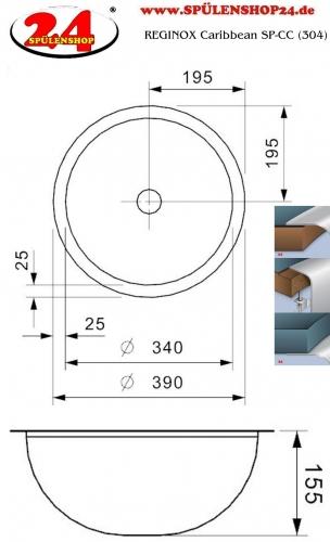 REGINOX Aqua Line Caribbean SP-CC Einbaubecken Edelstahl Waschbecken flächenbündig ohne Überlauf