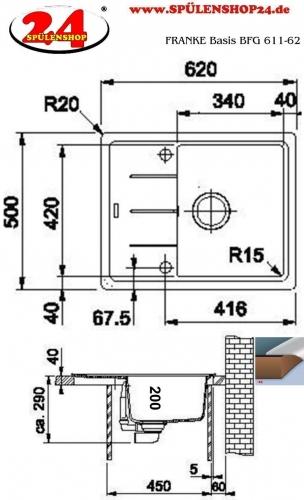 x FRANKE Küchenspüle Basis BFG 611-62 Fragranit+ Einbauspüle / Granitspüle mit Drehknopfventil