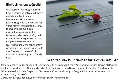 FRANKE Küchenspüle Strata STG 614-78 Fragranit+ Einbauspüle / Granitspüle mit Stopfen- oder Drehknopfventil