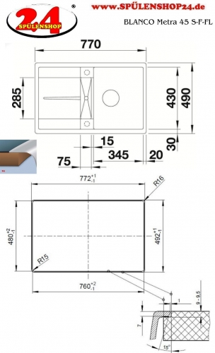 blanco metra 45 s f online sp le silgranit einkaufen. Black Bedroom Furniture Sets. Home Design Ideas