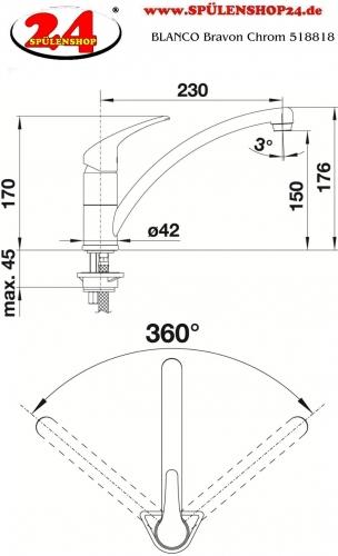 {LAGER} BLANCO Küchenarmatur Bravon Chrom Einhebelmischer / Spültischarmatur mit Festauslauf 360° schwenkbarer Auslauf