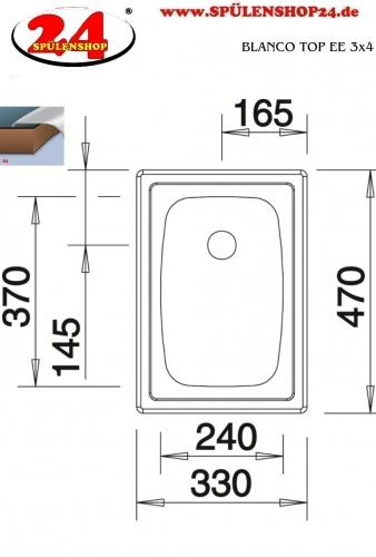 {LAGER} BLANCO Küchenspüle TOP EE 3x4 Edelstahlspüle / Einbauspüle Ablauf mit Gummistopfen