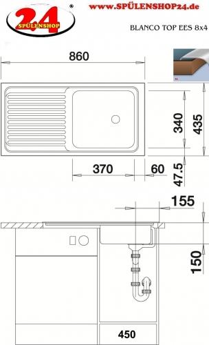 BLANCO Küchenspüle TOP EES 8x4 Edelstahlspüle / Einbauspüle Ablauf mit Gummistopfen