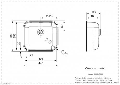 REGINOX Colorado Comfort L KG-CC Einbauspüle Edelstahl mit Flachrand Siebkorb als Stopfenventil
