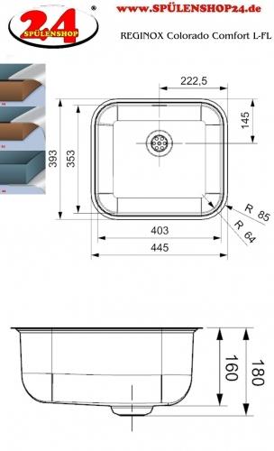 REGINOX Colorado Comfort L Einbauspüle Edelstahl 3 in 1 mit Flachrand Siebkorb als Stopfenventil