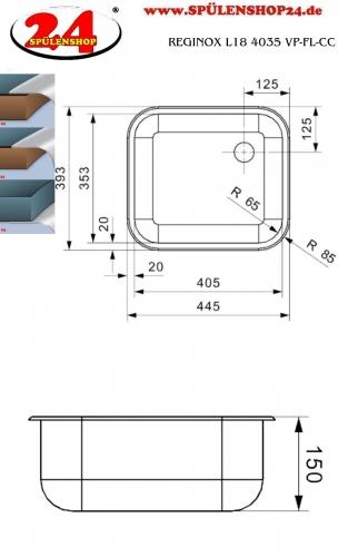 REGINOX L18 4035 VP-CC Einbauspüle Edelstahl mit Flachrand ohne Überlauf med. Bereich