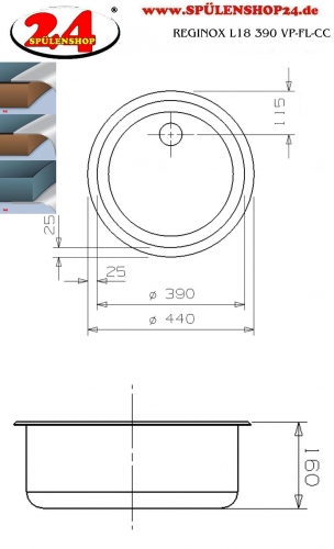 REGINOX L18 390 VP-CC Einbauspüle Edelstahl mit Flachrand ohne Überlauf medizinischer Bereich