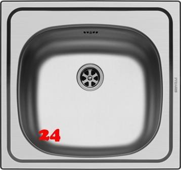 {LAGER} PYRAMIS Küchenspüle E33 (46,5x43,5) 1B Einbauspüle / Edelstahlspüle Ablauf mit Gummistopfen ohne Hahnlochbohrung