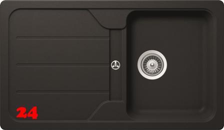 x SCHOCK Küchenspüle Formhaus D-100 Cristalite® Granitspüle / Einbauspüle Basic Line in 4 Farben mit Drehexcenter