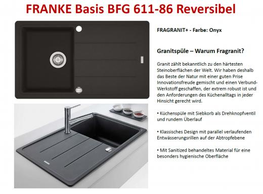 FRANKE Küchenspüle Basis BFG 611-86 Fragranit+ Einbauspüle / Granitspüle mit Drehknopfventil