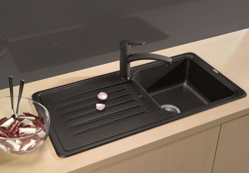 BLANCO Küchenspüle Favos 45 S Silgranit® PuraDur®II Granitspüle / Einbauspüle mit Handbetätigung in 6 Farben