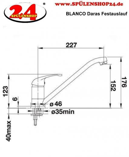 BLANCO Küchenarmatur Daras Silgranit®-Look Einhebelmischer mit Festauslauf 360° schwenkbarer Auslauf in 9 Farben