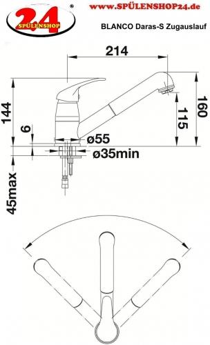 BLANCO Küchenarmatur Daras-S Chrom Einhebelmischer / Spültischarmatur mit Zugauslauf als Schlauchbrause