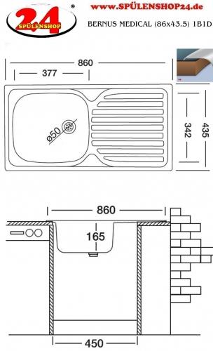 {Lagerware} BERNUS MEDICAL (86x43.5) 1B1D ohne Überlauf