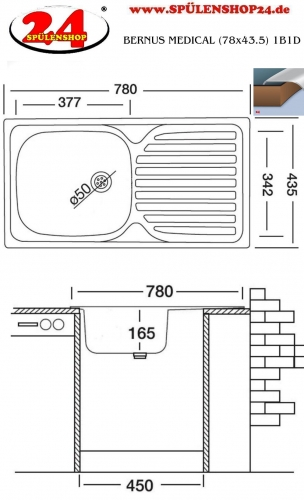 BERNUS MEDICAL (78x43.5) 1B1D ohne Überlauf