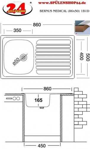 BERNUS MEDICAL (86x50) 1B1D ohne Überlauf