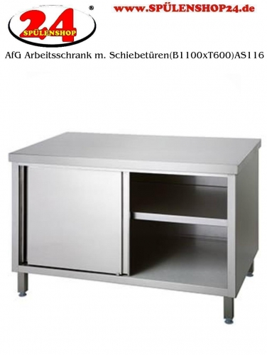 AfG Arbeitsschrank mit Schiebetüren (B1100xT600) AS116 verschweißte Ausführung Arbeitsplatte 4-Seitig mit Tropfkante
