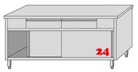 AfG Arbeitsschrank mit 2 Schubladen und Schiebetüren (B1300xT600) ASSL136 verschweißte Ausführung
