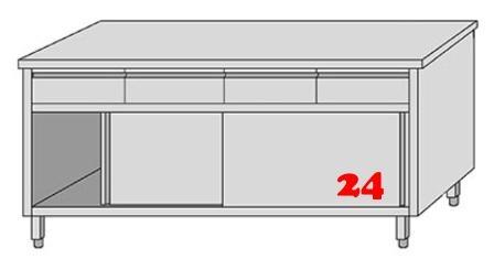 AfG Arbeitsschrank mit 4 Schubladen und Schiebetüren (B2000xT600) ASSL206 verschweißte Ausführung