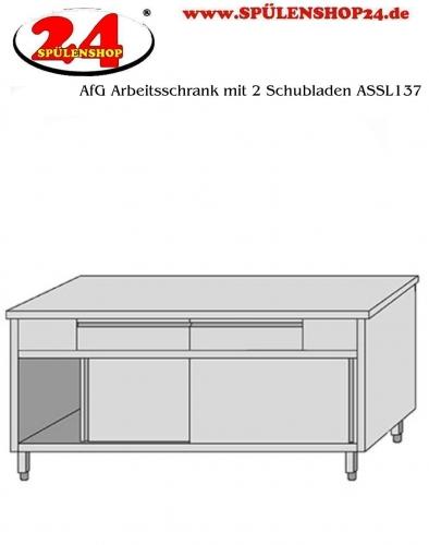 AfG Arbeitsschrank mit 2 Schubladen und Schiebetüren (B1300xT700) ASSL137 verschweißte Ausführung