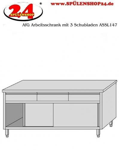 AfG Arbeitsschrank mit 3 Schubladen und Schiebetüren (B1400xT700) ASSL147 verschweißte Ausführung