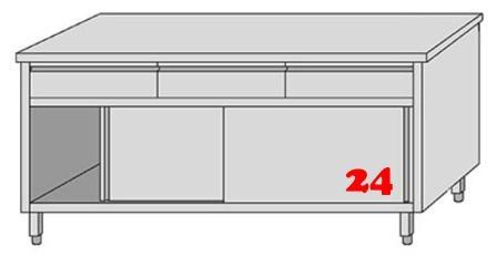 AfG Arbeitsschrank mit 3 Schubladen und Schiebetüren (B1500xT700) ASSL157 verschweißte Ausführung