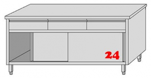 AfG Arbeitsschrank mit 3 Schubladen und Schiebetüren (B1800xT700) ASSL187 verschweißte Ausführung