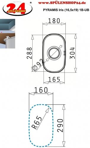 PYRAMIS Küchenspüle Iris (16,5x29) 1B Unterbauspüle / Edelstahlspüle mit Siebkorb als Stopfenventil