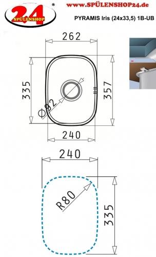PYRAMIS Küchenspüle Iris (24x33,5) 1B Unterbauspüle / Edelstahlspüle mit Siebkorb als Stopfenventil