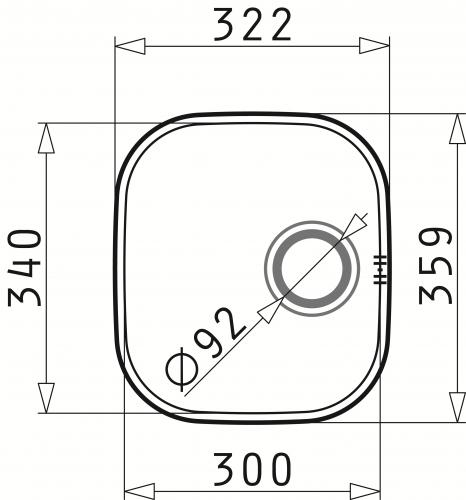 PYRAMIS Küchenspüle Iris (30x34) 1B Unterbauspüle / Edelstahlspüle mit Siebkorb als Stopfenventil