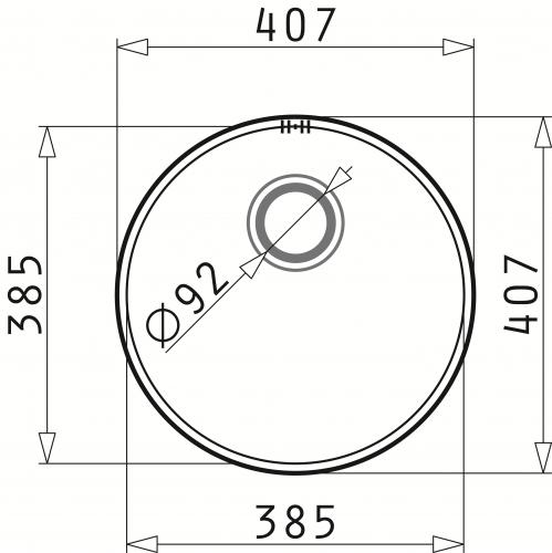 PYRAMIS Küchenspüle Iris (Ø38,5x15) 1B Unterbauspüle / Rundbecken mit Siebkorb als Stopfenventil