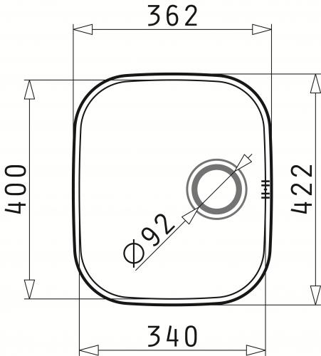 PYRAMIS Küchenspüle Iris (34x40) 1B Unterbauspüle / Edelstahlspüle mit Siebkorb als Stopfenventil