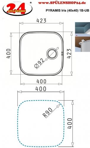PYRAMIS Küchenspüle Iris (40x40) 1B Unterbauspüle / Edelstahlspüle mit Siebkorb als Stopfenventil