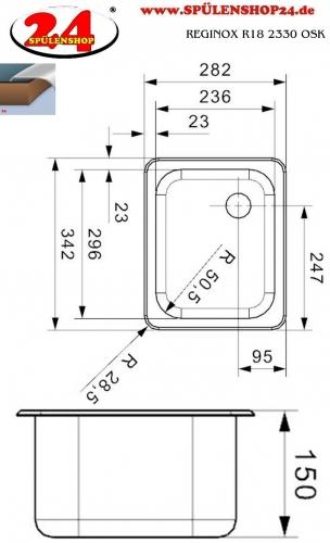 REGINOX R18 2330 OSK Einbauspüle Edelstahl mit Einbaurand Ablauf mit Gummistopfen