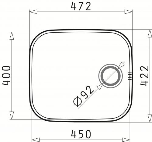PYRAMIS Küchenspüle Iris (45x40) 1B Unterbauspüle / Edelstahlspüle mit Siebkorb als Stopfenventil
